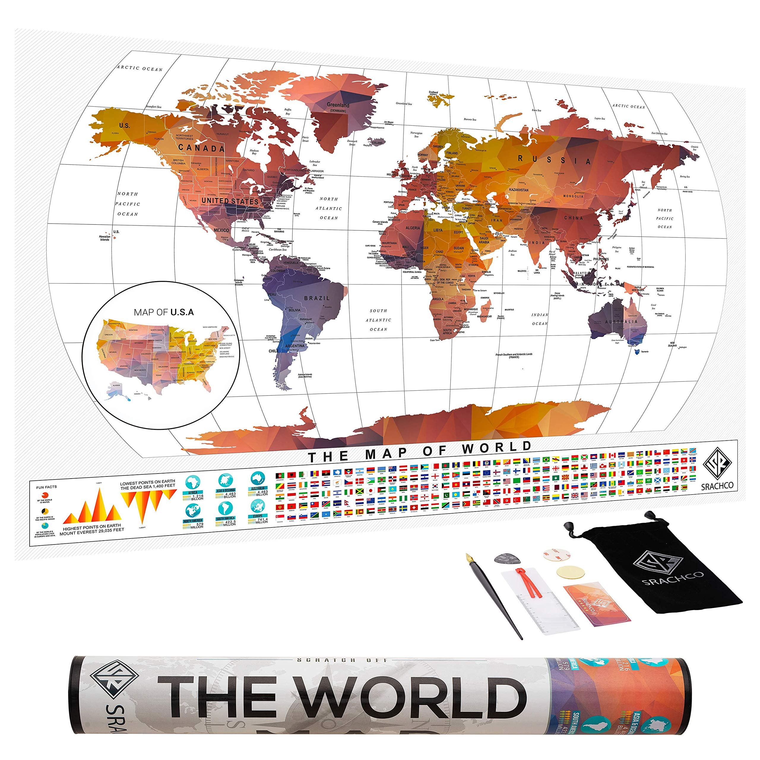 Transparent Scratch Off Map of The World - 27'' x17'' + Premium Scratch Off Map of The United States - Premium Quality Scratch Off Map - World Map Poster - Cool Posters Make Best Gifts for Travelers by Srachco