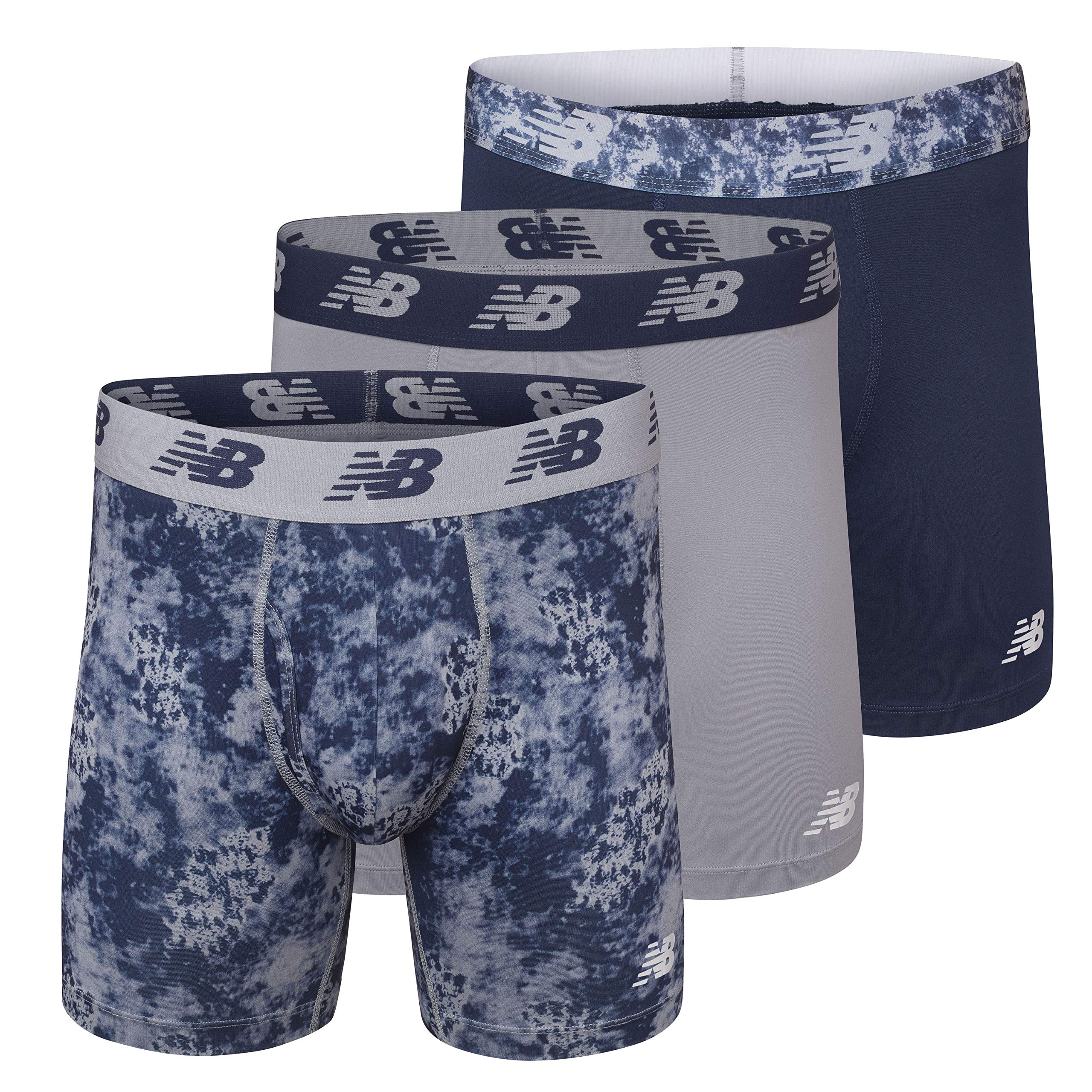 New Balance Men's 6'' Boxer Brief Fly Front with Pouch, 3-Pack,Print/Steel/Pigment, Large (36''-38'') by New Balance