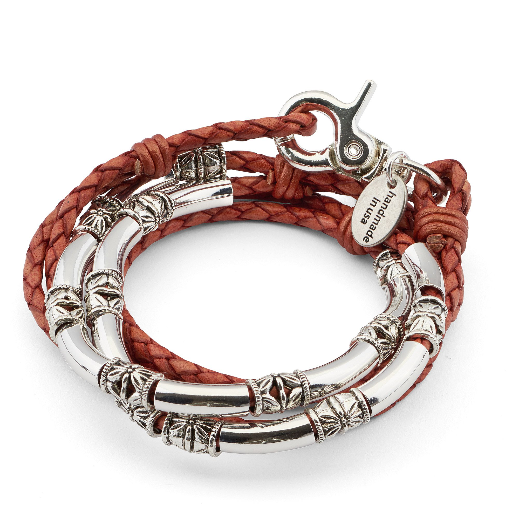 Maxi Silver Plate and Braided Leather Wrap Bracelet Necklace in Natural Red Spice Leather (MEDIUM)