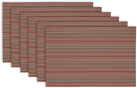Amazon Com Dii Everyday Easy To Clean Indoor Outdoor Woven Vinyl 13x17 75 Stripe Placemats Tango Red Set Of 6 Home Kitchen