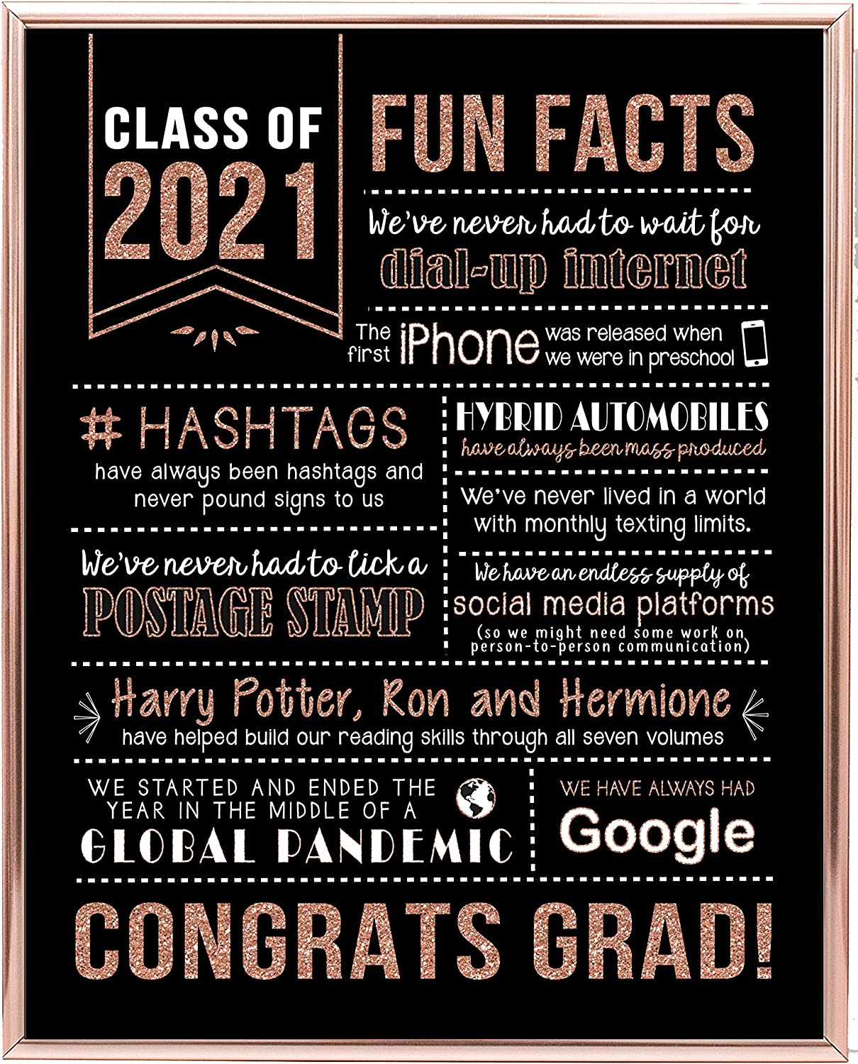Katie Doodle Rose Gold Graduation Decorations 2021 - Fun Classy Table Decor - Great Class of 2021 Decorations or Graduation Gifts for Her - 2021 Funny Facts Print [Unframed], 8x10 inch, Rose Gold