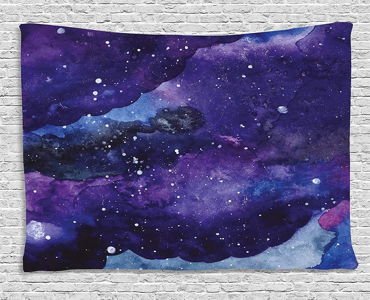 60WX40L Inches Outer Space Tapestry by Wall Hanging for Bedroom Living Room Dorm Starry Night Sky Paint Strokes Galaxy Cosmic Universe Theme Navy Blue Light Blue Purple