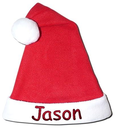 82acfe03efe Amazon.com  NEW Red Fleece Christmas Holiday Santa Hat Personalized  Monogrammed 18