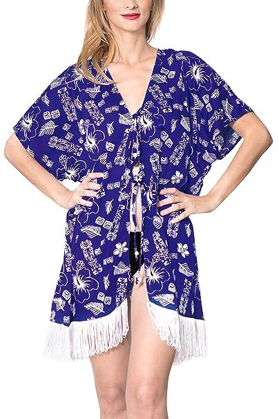 af7dd841e55c LA LEELA Copricostume Mare Donna Pizzo Camicia - Coperta sul Costume da  Bagno - Kimono Vestito Corto Estate Boho Hippie Kaftan Tunica Etnica Abito  da ...
