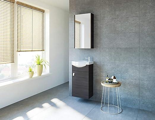 Planetmoebel Badmöbel Set Gäste Wc Waschtischunterschrank Keramikwaschbecken Spiegelschrank Anthrazit