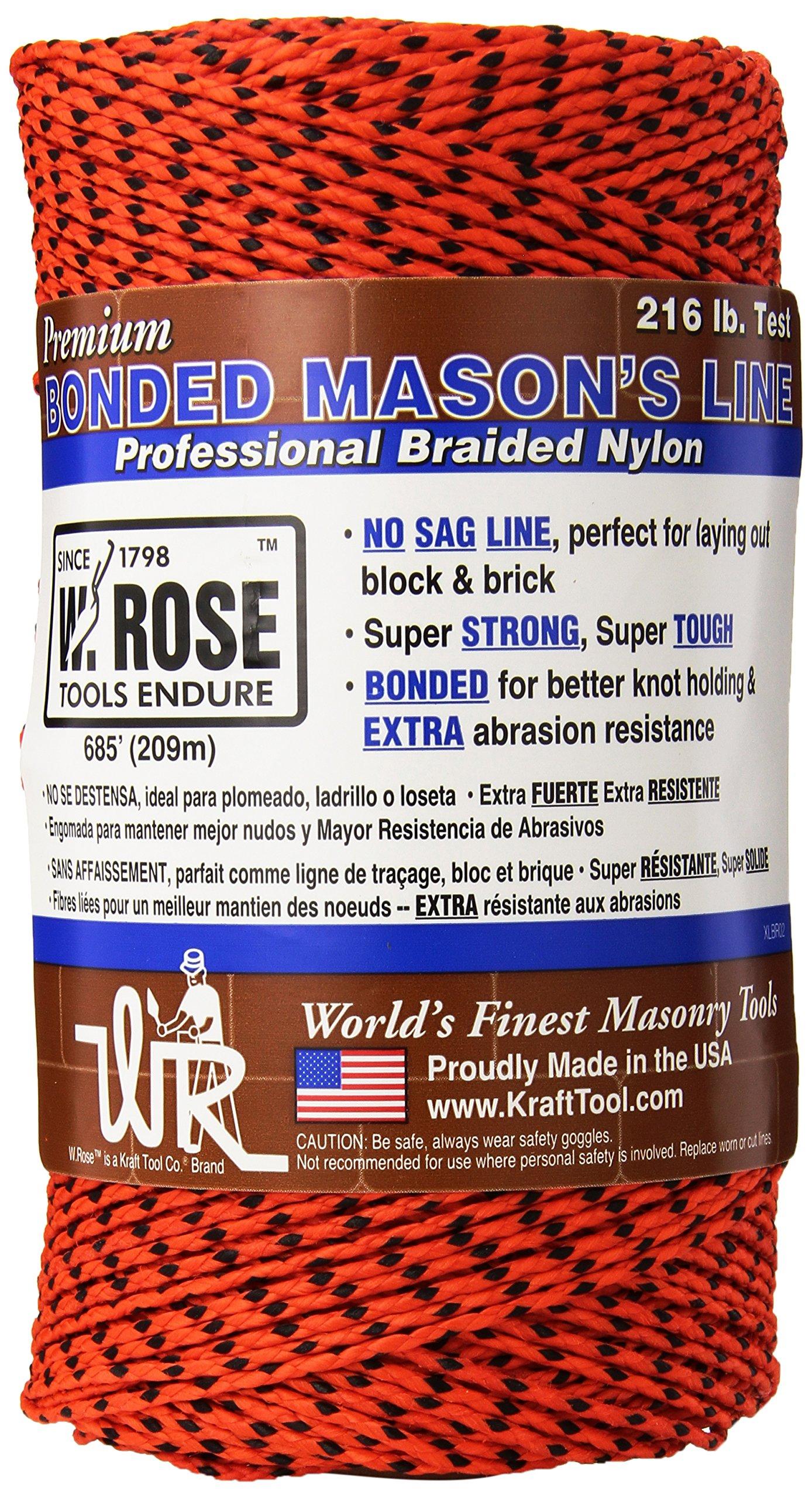 W. Rose RO686 Super Tough Professional Bonded Braided Nylon Mason's Line, 685-Feet, Orange/Black