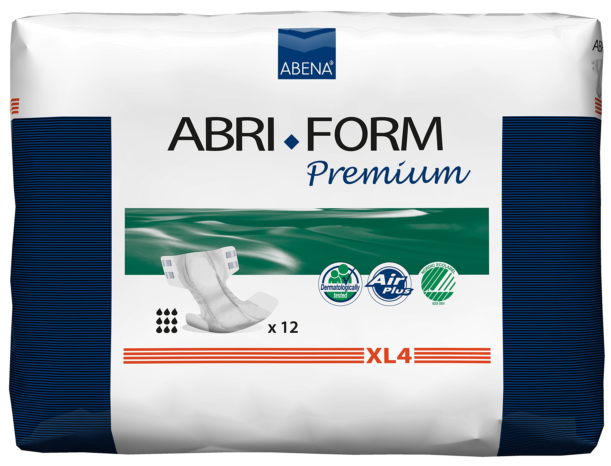 Abena Abri-Form Premium Incontinence Briefs, Extra Large, XL4, 12 Count