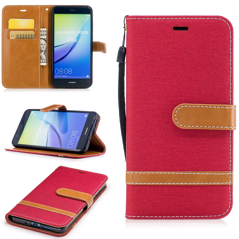 Lomogo Cover Huawei P10 Lite BIFE23126 Viola Custodia Portafoglio in Pelle Porta Carta di Credito con Chiusura Magnetica per Huawei P10Lite