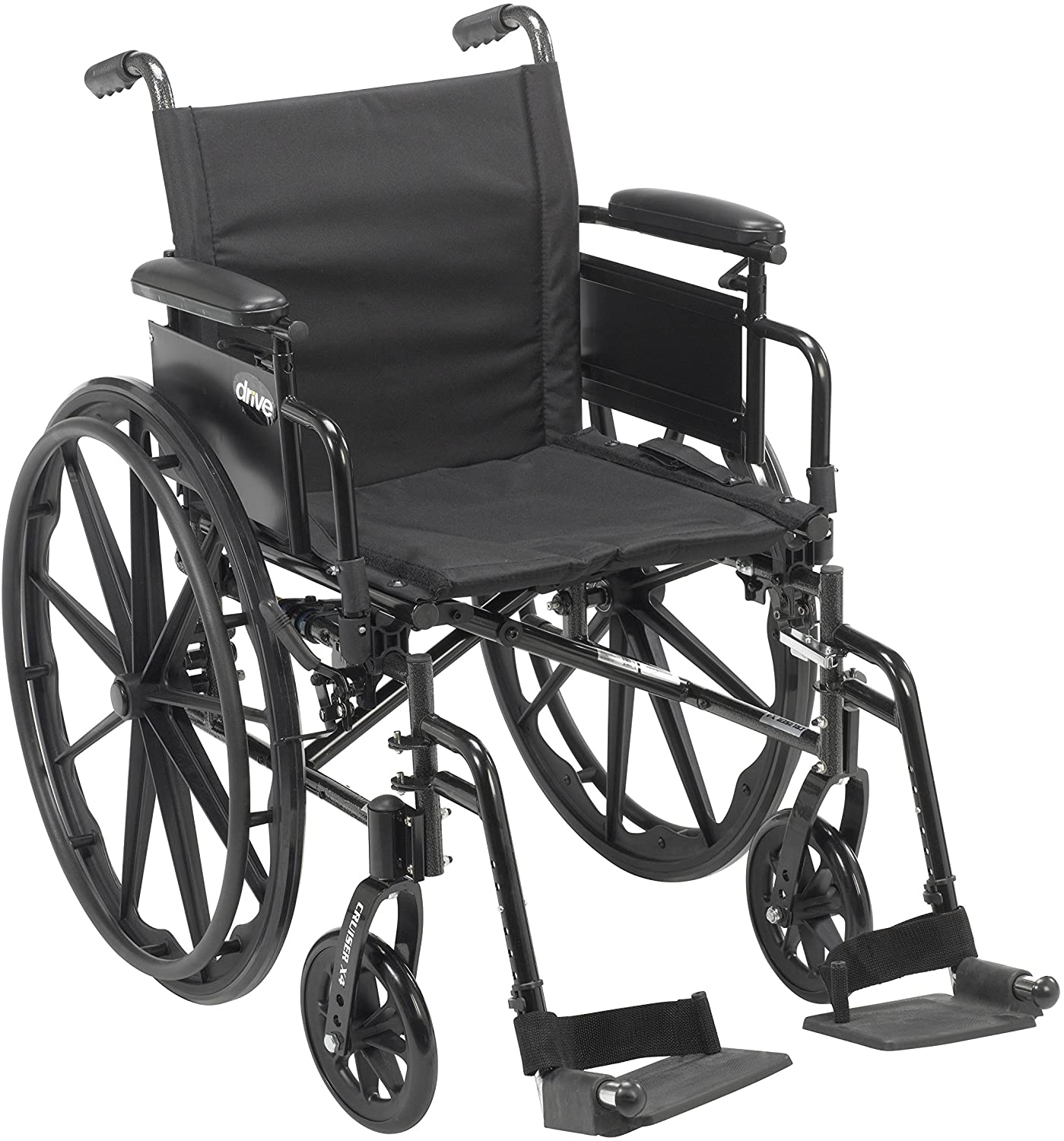 "Drive Medical Cruiser X4 Lightweight Dual Axle Wheelchair with Adjustable Detachable Arms, Desk Arms, Swing Away Footrests, 18"" Seat 91aUfLFGgWL"