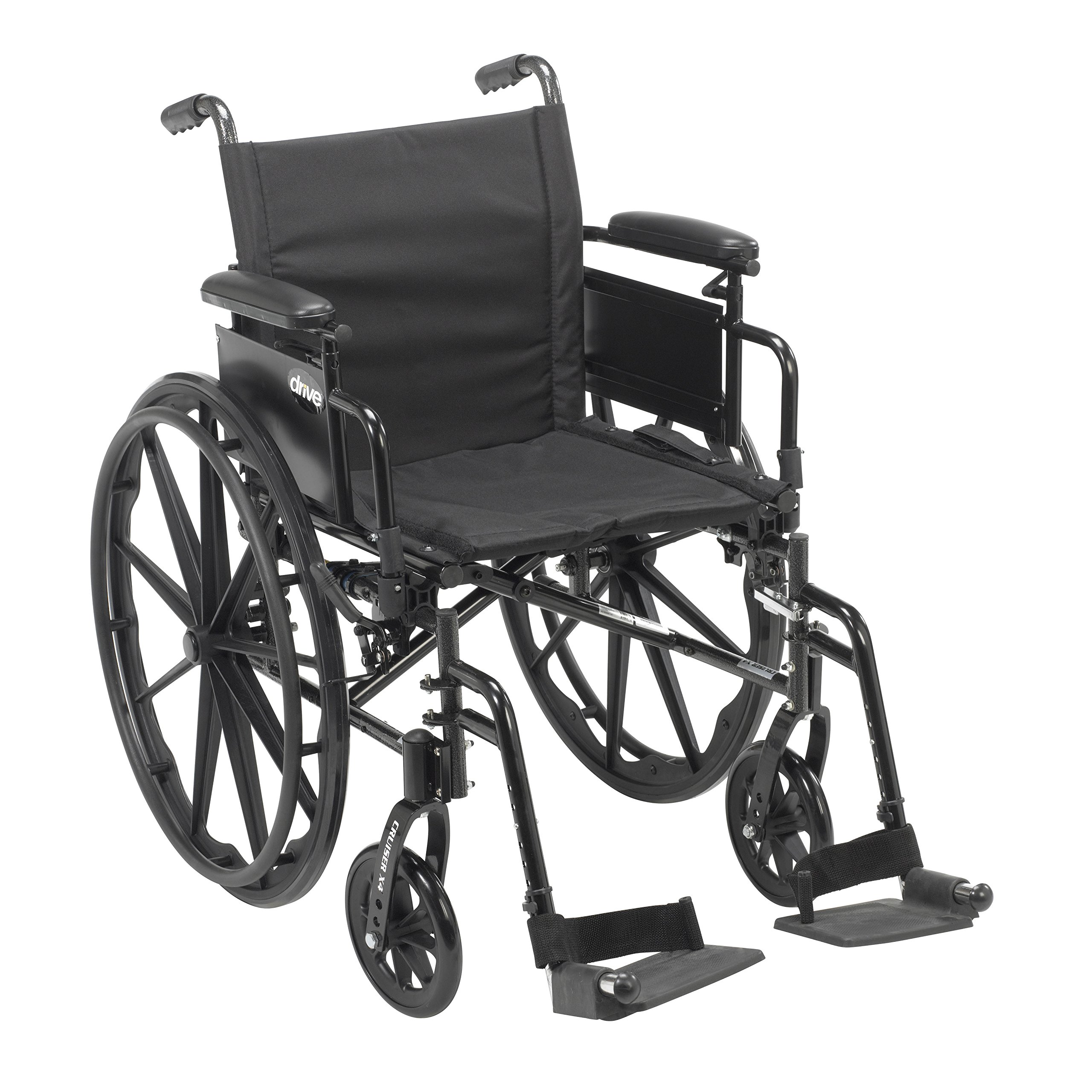 Drive Medical Cruiser X4 Lightweight Dual Axle Wheelchair with Adjustable Detachable Arms, Desk Arms, Swing Away Footrests, 18'' Seat