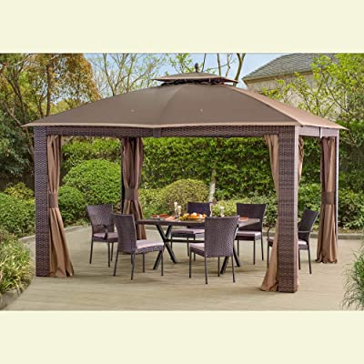 Sunjoy 110109106 Original Replacement Mosquito Netting for Sonoma Resin Wicker Gazebo (10X12 Ft) L-GZ815PST-1 Sold at BigLots, Brown: Garden & Outdoor
