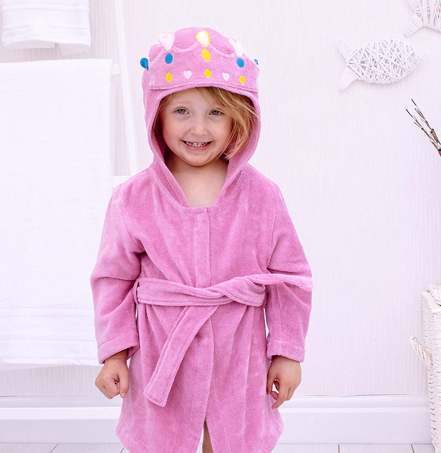 Bathing Bunnies Hooded Princess Bath Robe Cotton for 1-3 Year Old Surrey AT Company Ltd 760446PTR