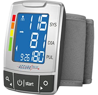 #17 AccuraPulse Fully Automatic Portable Wrist Blood Pressure Cuff Monitor, Easy-to-Read LCD