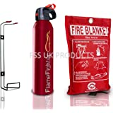 Introductory offer on Premium FSS UK 600 g ABC Powder Fire Extinguisher & 1m x 1m Fire Blanket. Ideal for Home Kitchen Caravans Boats Restaurants Workshops and Offices