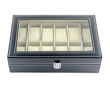 Feibrand Caja Para Relojes Piel Sintética 12 Compartimentos: Amazon.es: Hogar
