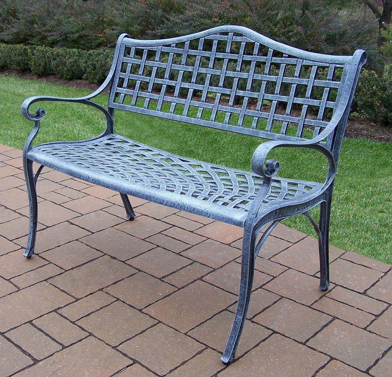 Amazon.com : Oakland Living Elite Cast Aluminum Settee Bench, Verdi Grey :  Outdoor Benches : Garden U0026 Outdoor