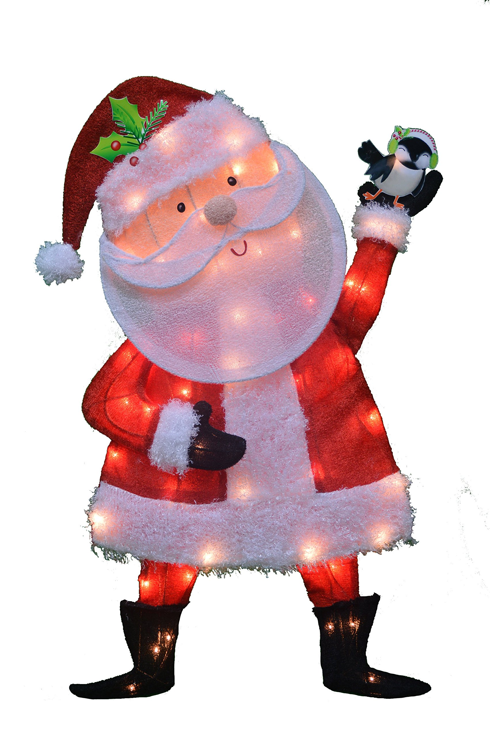 ProductWorks 32-Inch Pre-Lit Victoria Hutto Santa Claus Christmas Yard Decoration, 50 Lights