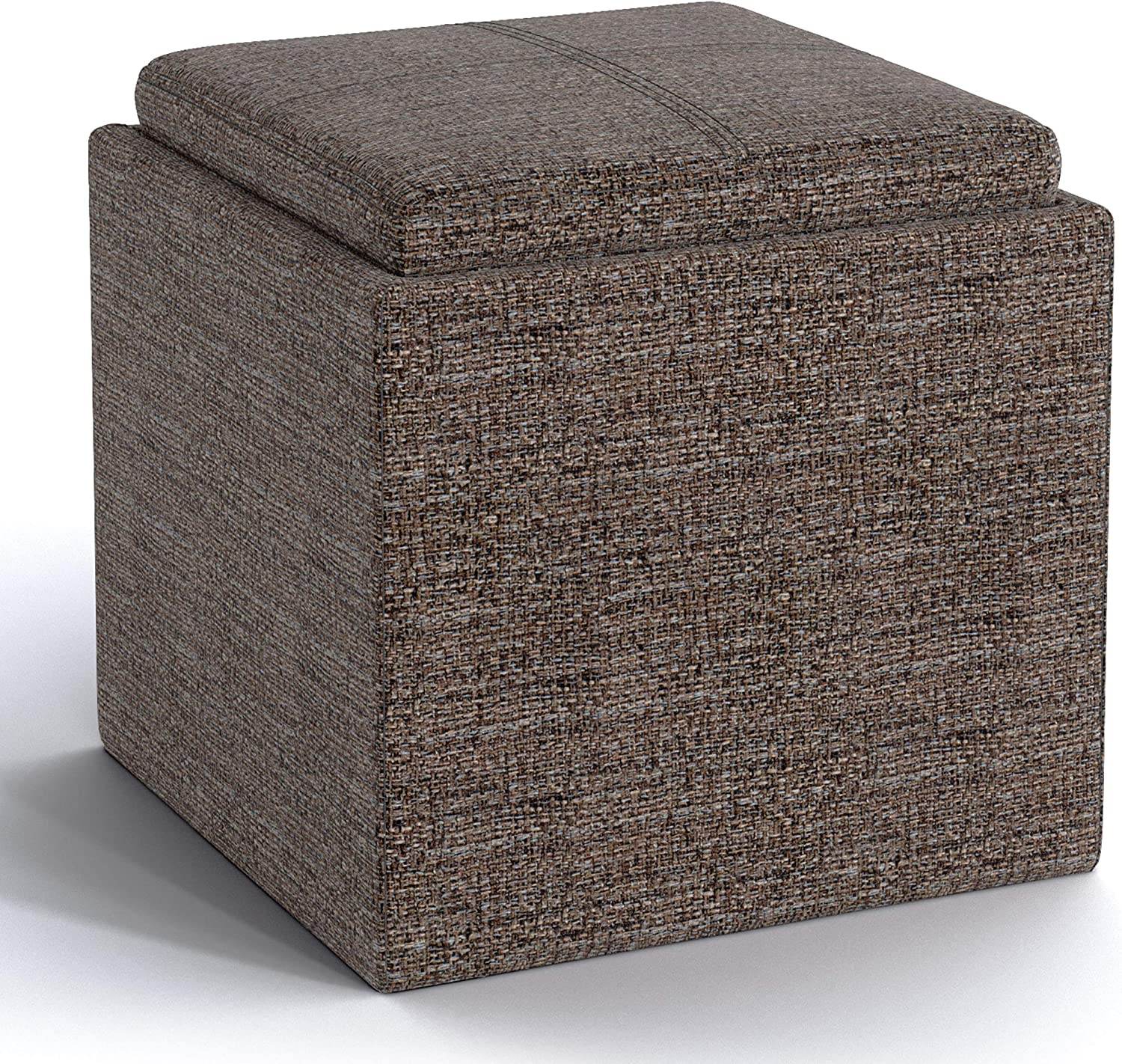 SIMPLIHOME Rockwood 17 inch Wide Square Cube Storage Ottoman with Tray in Mink Brown Tweed Fabric, Footrest Stool, Coffee Table for the Living Room, Bedroom, and Kids Room, Contemporary