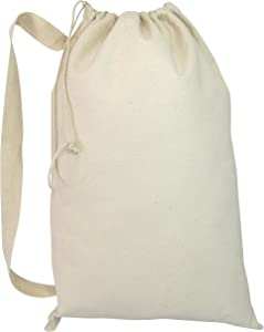 "Jumbuzz Laundry Bag w/Drawstring Closure Shoulder Straps Heavy Canvas for House, College (Natural, Large - 22"" W x 33"" H)"