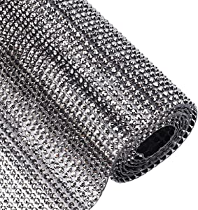 BENECREAT 120x40cm Hotfix Rhinestone Sheet Black Glitter Resin Rhinestone Trim Scrapbooking Embellishments with 3mm Rhinestones for Dresses Shoes Crafts