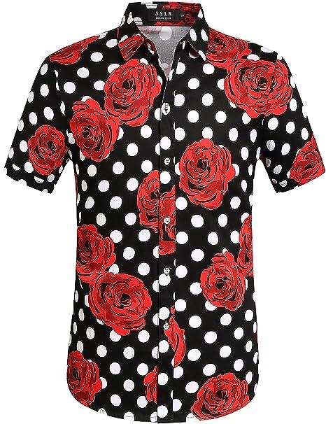 SSLR Camisa Manga Corta Casual Hombre de Rosas y Lunares Grandes (Small a24c1112f504a
