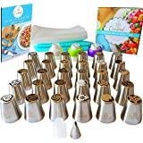 Cremiel Russian Decorating Tips Set - Deluxe Stainless Steel Cake Icing & Frosting Piping Nozzles & Coupler Kit of 57 pc - Design with your kids fancy professional cakes with rose flower & more shapes