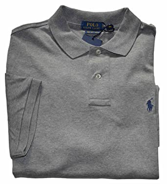 8b297b29 Polo Ralph Lauren Mens Pima Soft Touch Interlock Polo Shirt (Large, Grey  Heather)