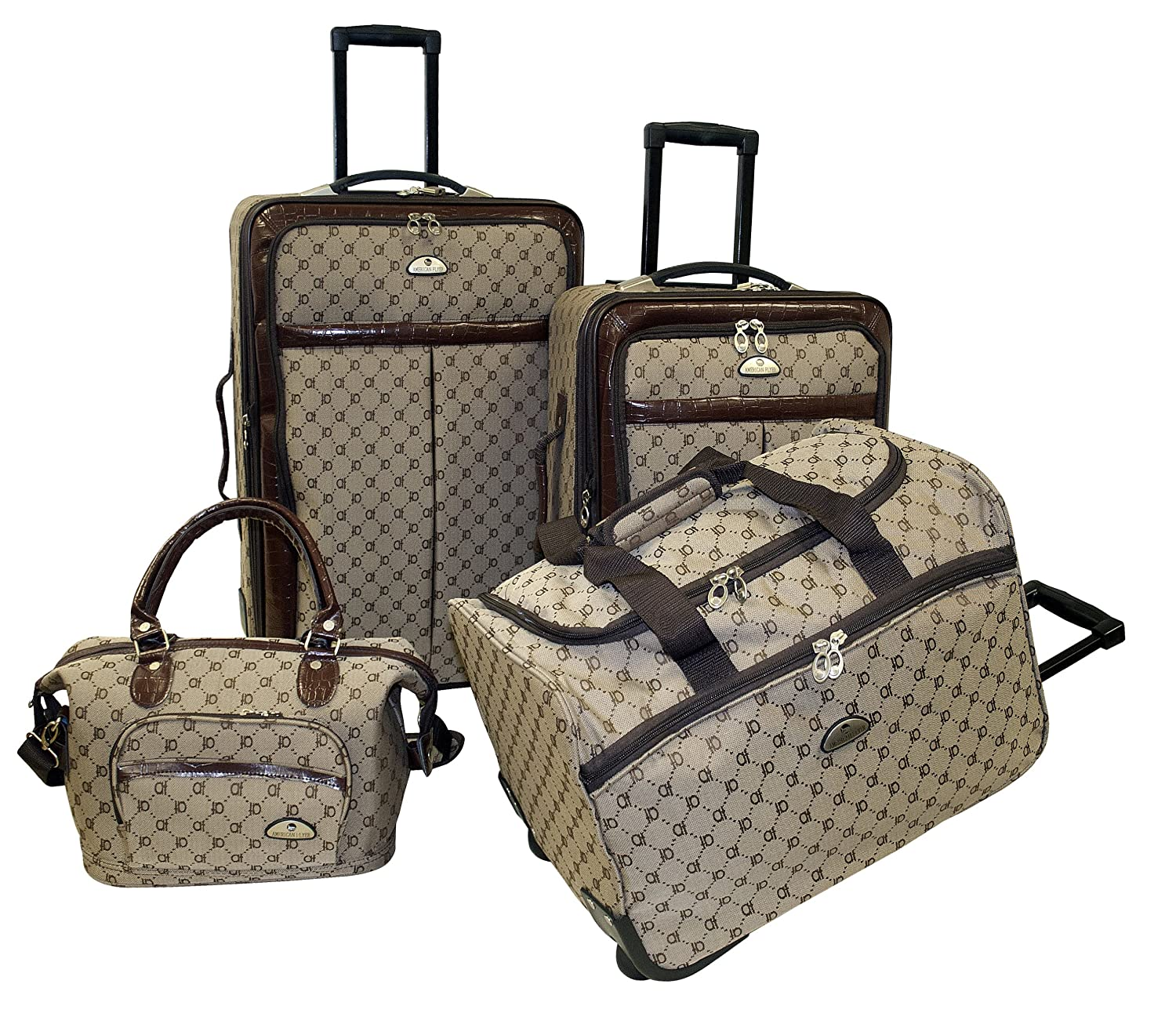 Amazon.com | American Flyer Luggage Signature 4 Piece Set, Brown ...