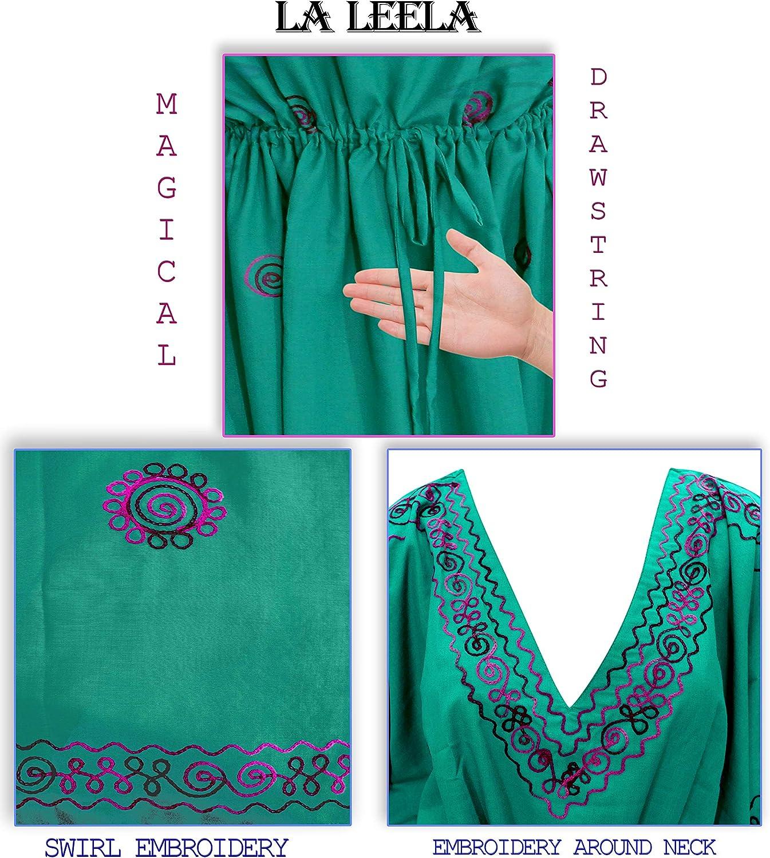 LA LEELA Womens One Size Caftan Evening Dresses Swimwear Cover Ups Embroidered
