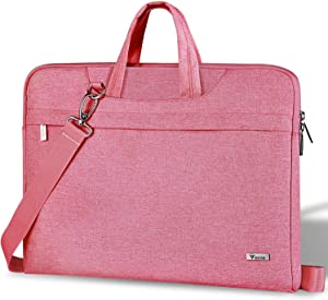Voova 17 17.3 Inch Laptop Sleeve Shoulder Bag, Slim Women Computer Carry Case Compatible with Razer Blade Pro 17, Lenovo LG Dell Asus Acer HP Notebook Messenger Briefcase with Strap, Waterproof, Pink