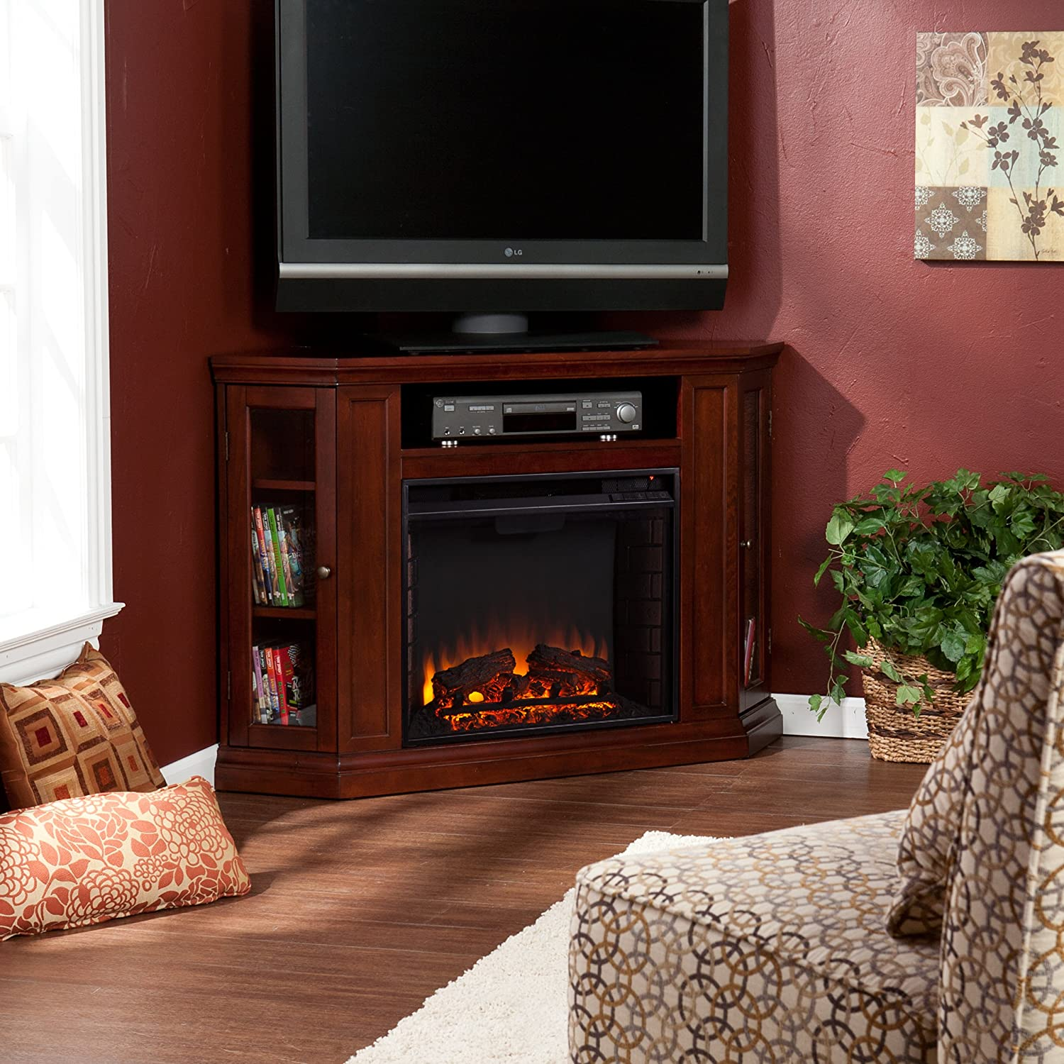 Amazon.com: Claremont Convertible Media Electric Fireplace - Cherry:  Kitchen & Dining - Amazon.com: Claremont Convertible Media Electric Fireplace