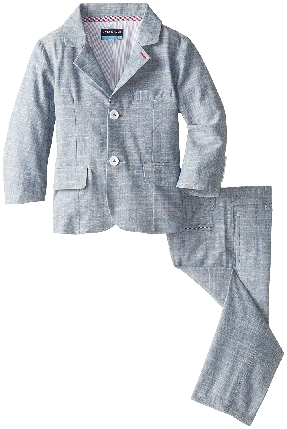 Andy /& Evan Little Boys Blue Chambray Two-Piece Suit