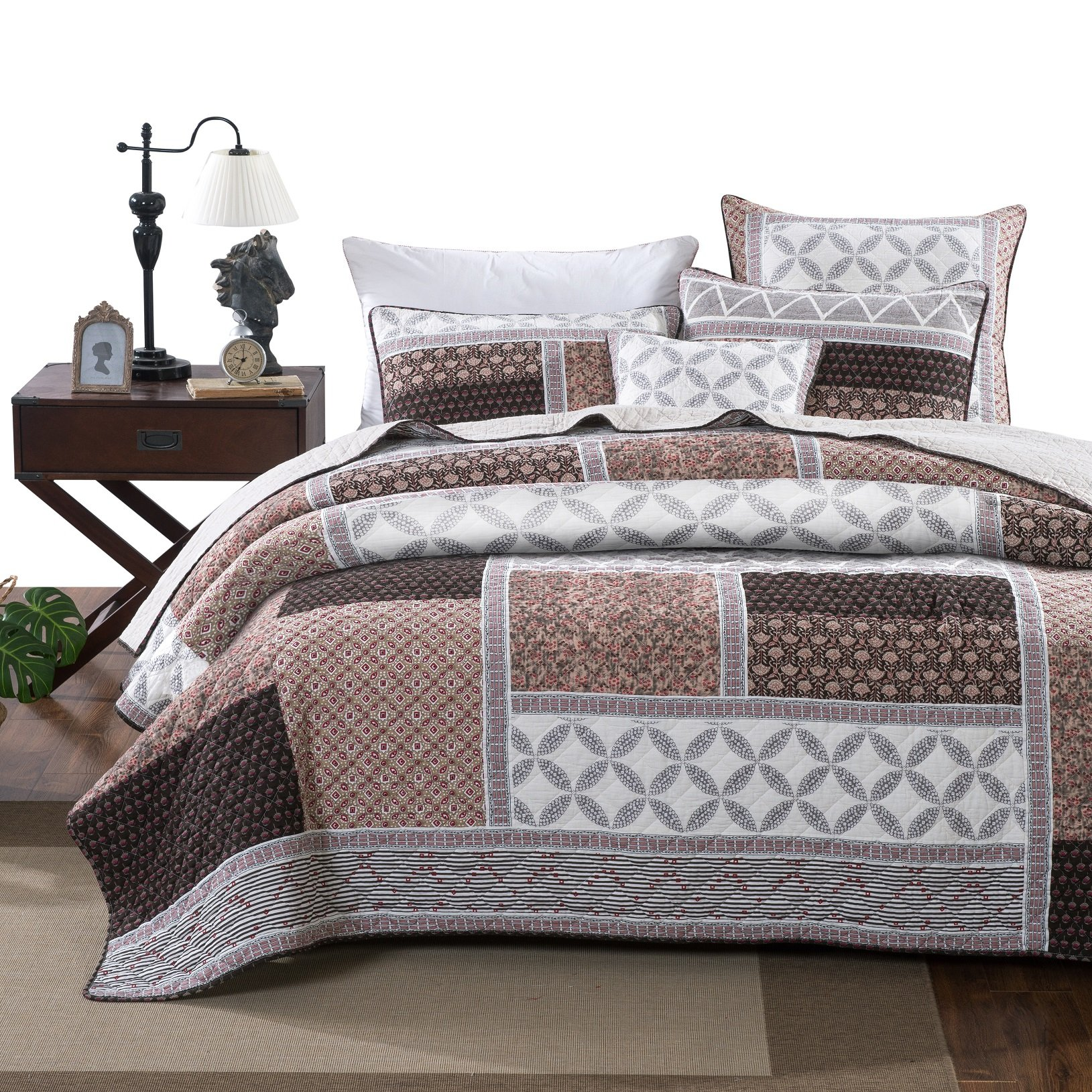 DaDa Bedding Cotton Patchwork Quilt - Geometric Neopolitan Roses Bedspread Set - Floral Bright Vibrant Multi Colorful - Pink Brown - Full - 3-Pieces