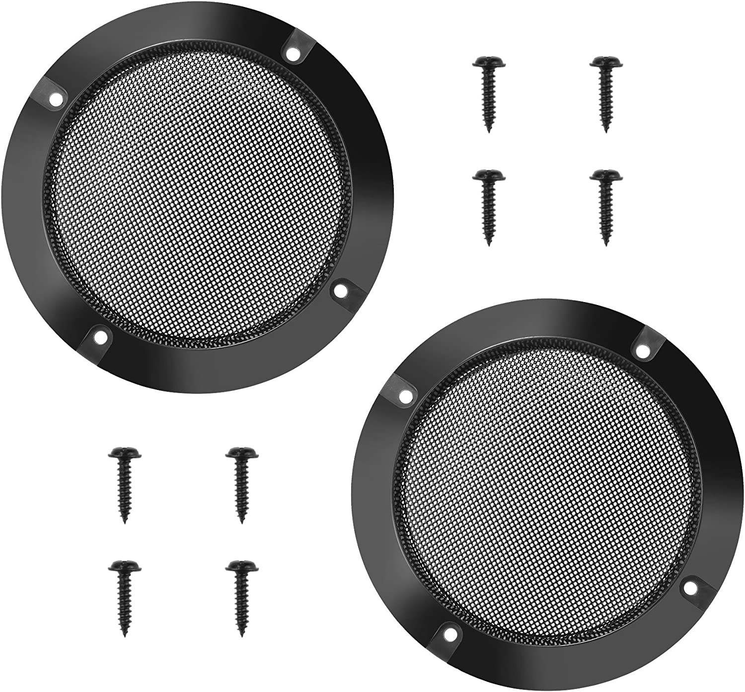 Bluecell 10pcs 10.10inch Mesh Speaker Grill Covers Guard Protector Speaker  Decorative Circle with Screw (Black Color)