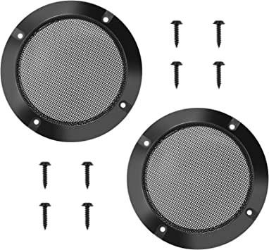 """4/"""" inch Speaker Cover Decorative Circle Metal Mesh Grille Protection Black"""