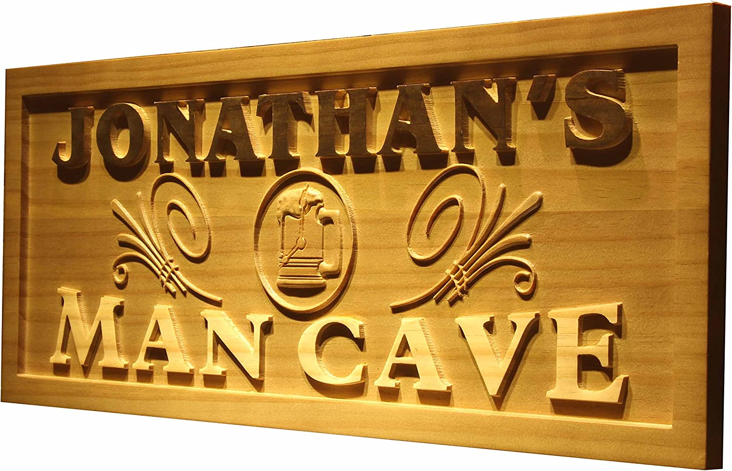 wpa0169 Name Personalized Man CAVE Beer Mug Decoration Wood Engraved Wooden Sign Medium 18.25 x 7.25