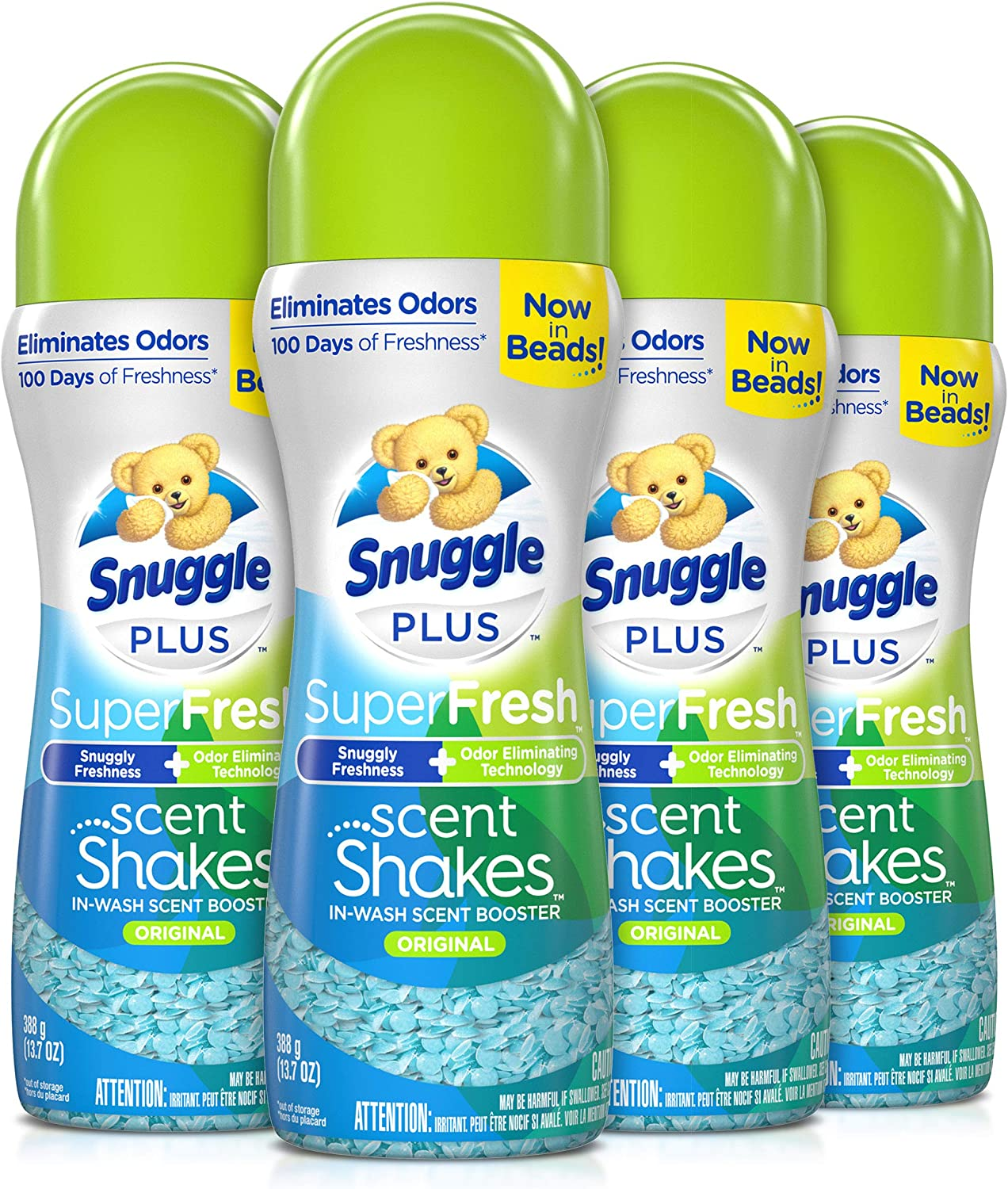 Snuggle Scent Shakes in-Wash Scent Booster Beads, SuperFresh Original, 13.7 Ounce (Pack of 4)