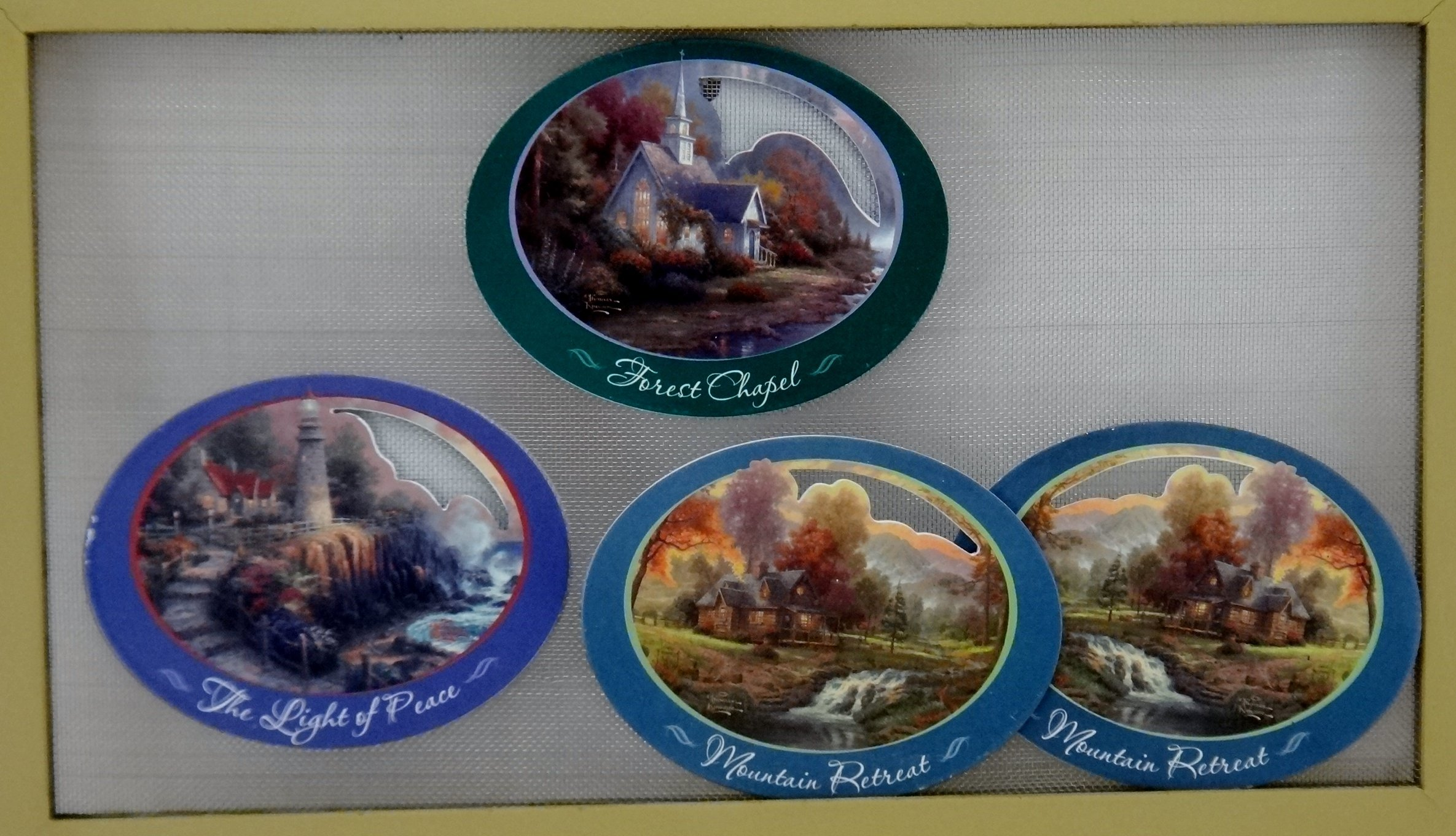 Thomas Kinkade Window/Patio Door Screen Saver Magnets - Set of 3: Forest Chapel, Mountain Retreat, The Light of Peace