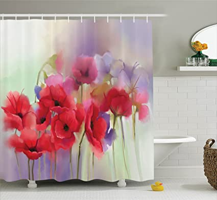 Ambesonne Poppy Shower Curtain Art Decor Flowers Blur Spring Floral Seasonal Romantic Artistic Theme