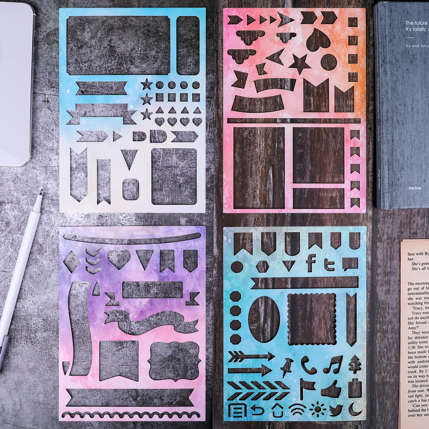 BULLET JOURNAL STENCIL SET 4 PACK - Banners, Dividers, Icons Fits Leuchtturm & Moleskine A5 Notebooks, Best Used with Huhuhero Fineliners & Sakura Micron Pens, 5 X 7 inches MUUYIYA 757490647382