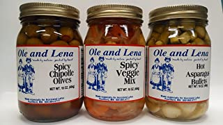 product image for Ole & Lena Pickled Preserves (3 Pack Variety)-Spicy Veggie Mix, Hot Asparagus Bullets, Spicy Chipotle Olives