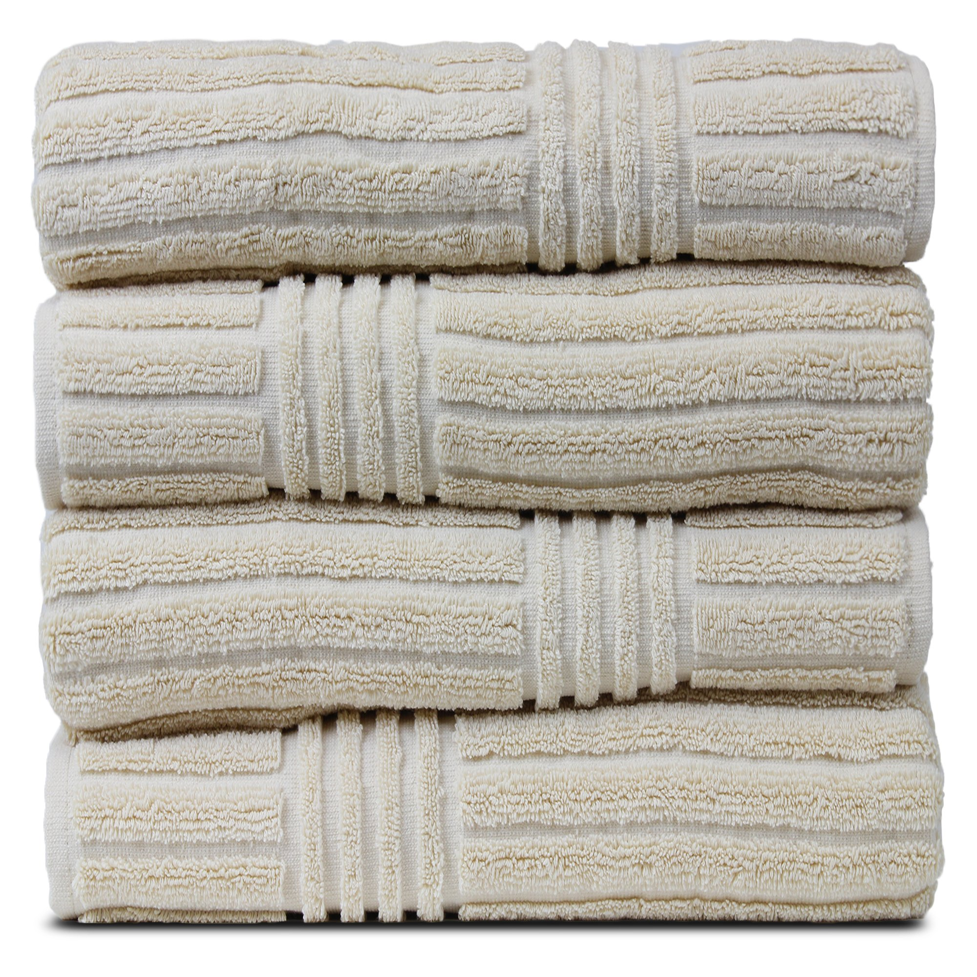 BC BARE COTTON Luxury Hotel & Spa Towel 100% Natural Turkish Cotton Ribbed Channel Pattern Bath (Set of 4), Beige