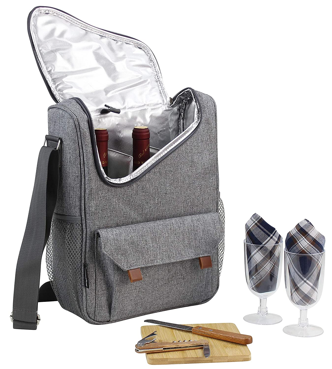 Wine Bottle Carrier 2 Bottle Capacity with Wine Glasses and Cheese Board  Set | Highest Quality Wine Bag for Wine Lover Gifts and Picnic | Insulated  Wine Tote Bag with Handle and