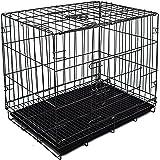 Sk Depot Dog Crate 23'' /58x42x42 Double Door Side Door and Top Door Folding Metal Dog Crate Floor Protecting Feet Leak-Proof