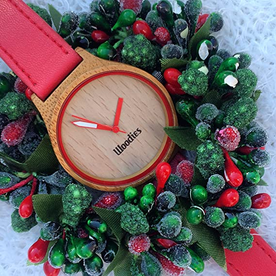 amazoncom woodies red bamboo wood watch watches - Woodies Christmas Decorations