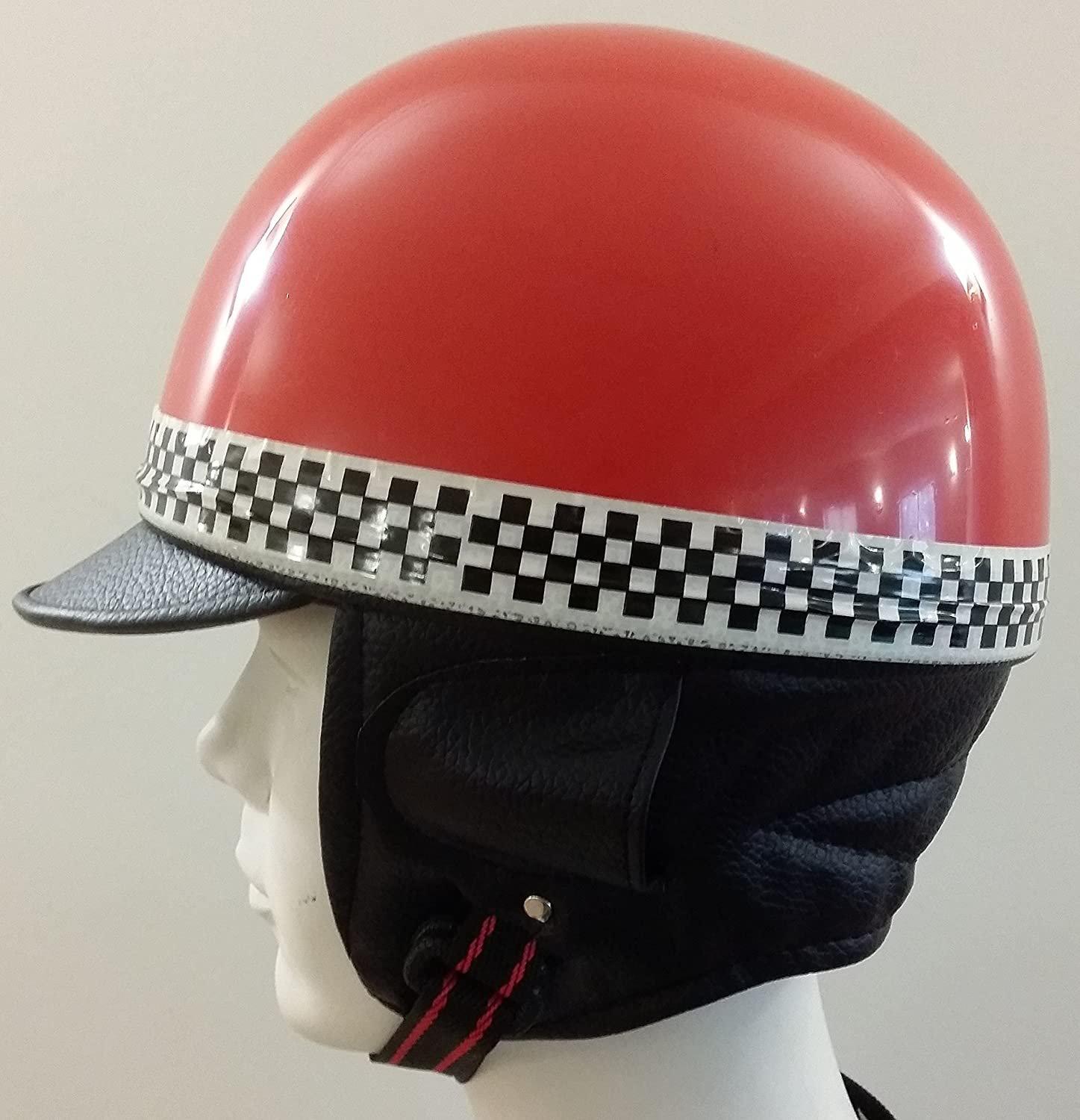 Amazon.es: Casco Retro Vintage Rojo GR