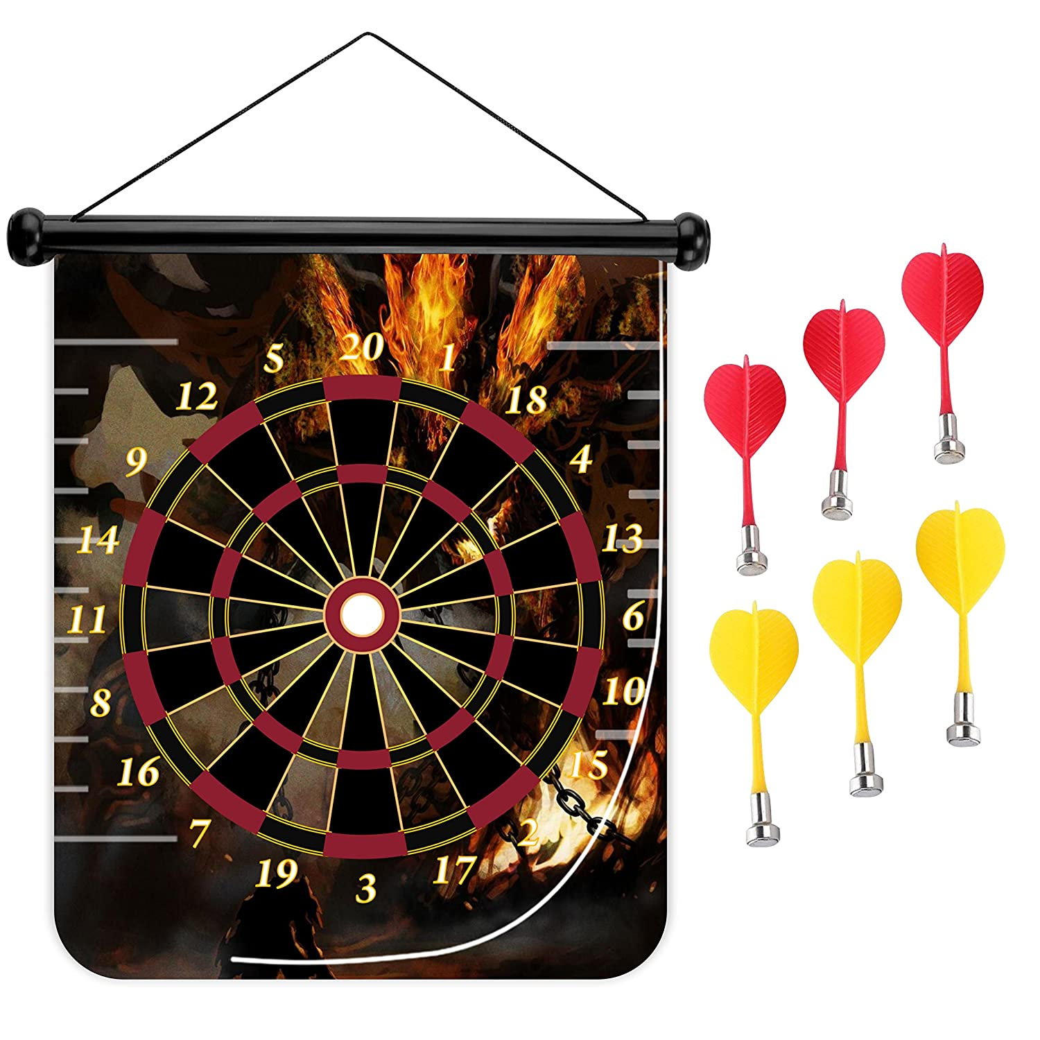 15インチMagnetic Dart Board Double Sided Hanging Dart Board Set and Bullseyeゲーム。ディアブロ B079M92PV3