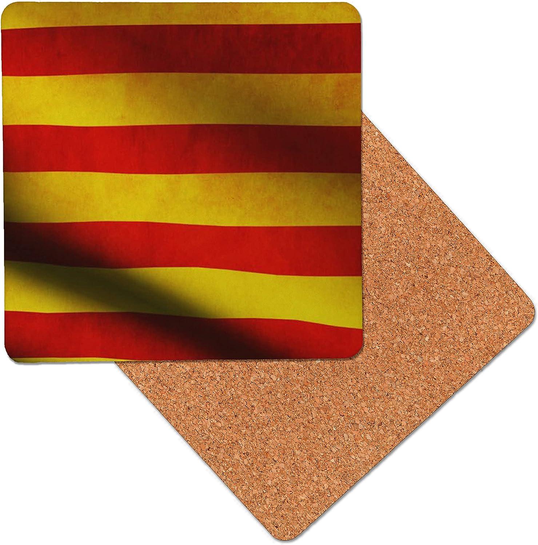 España Bandera catalán Posavasos de madera de primera calidad - base de corcho - posavasos para bebidas - mesa de tapete - 95 x 95 mm (Pack of 8): Amazon.es: Hogar