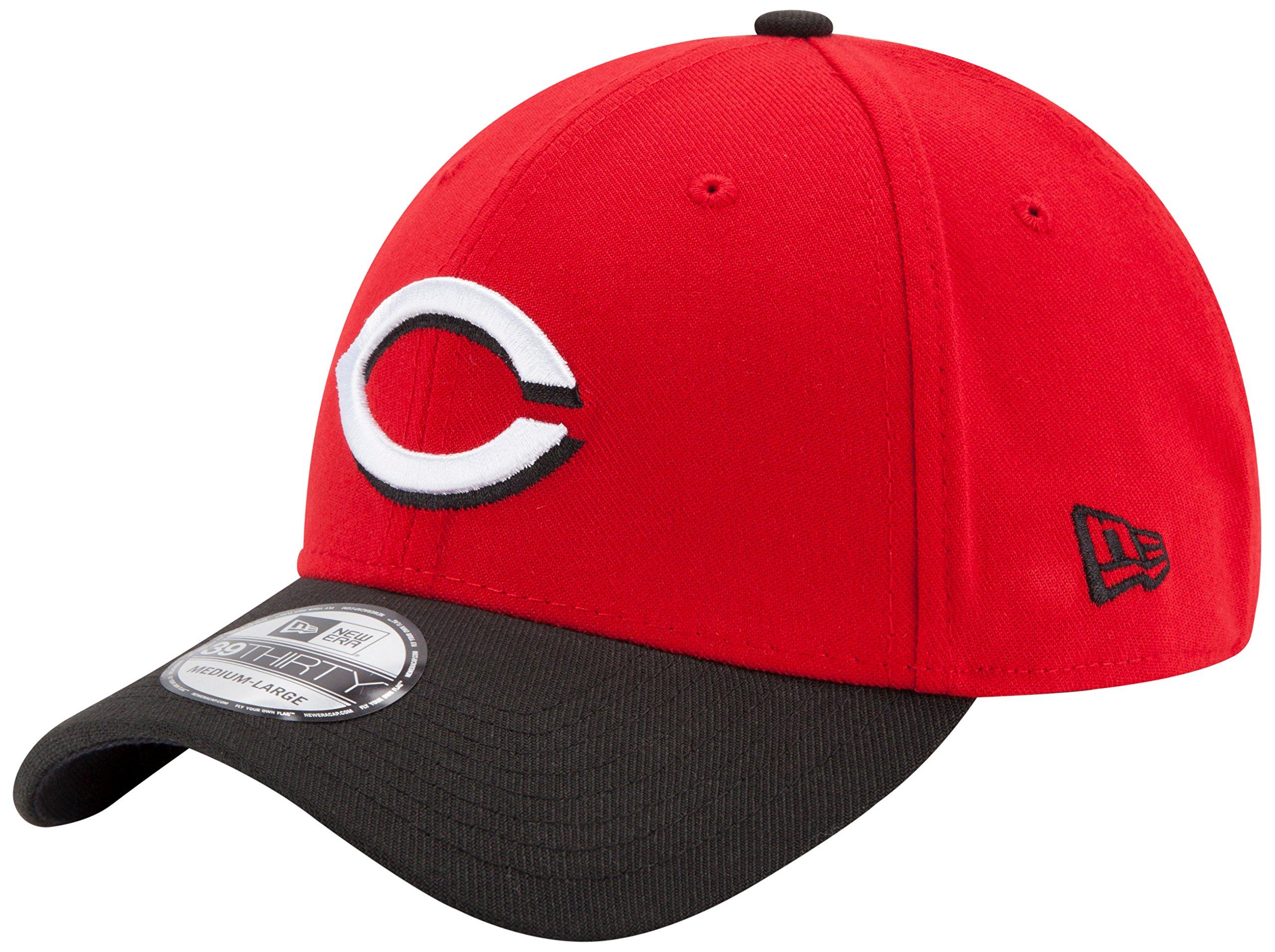 New Era MLB Cincinnati Reds Team Classic Road 39Thirty Stretch Fit Cap, Red, Large/X-Large