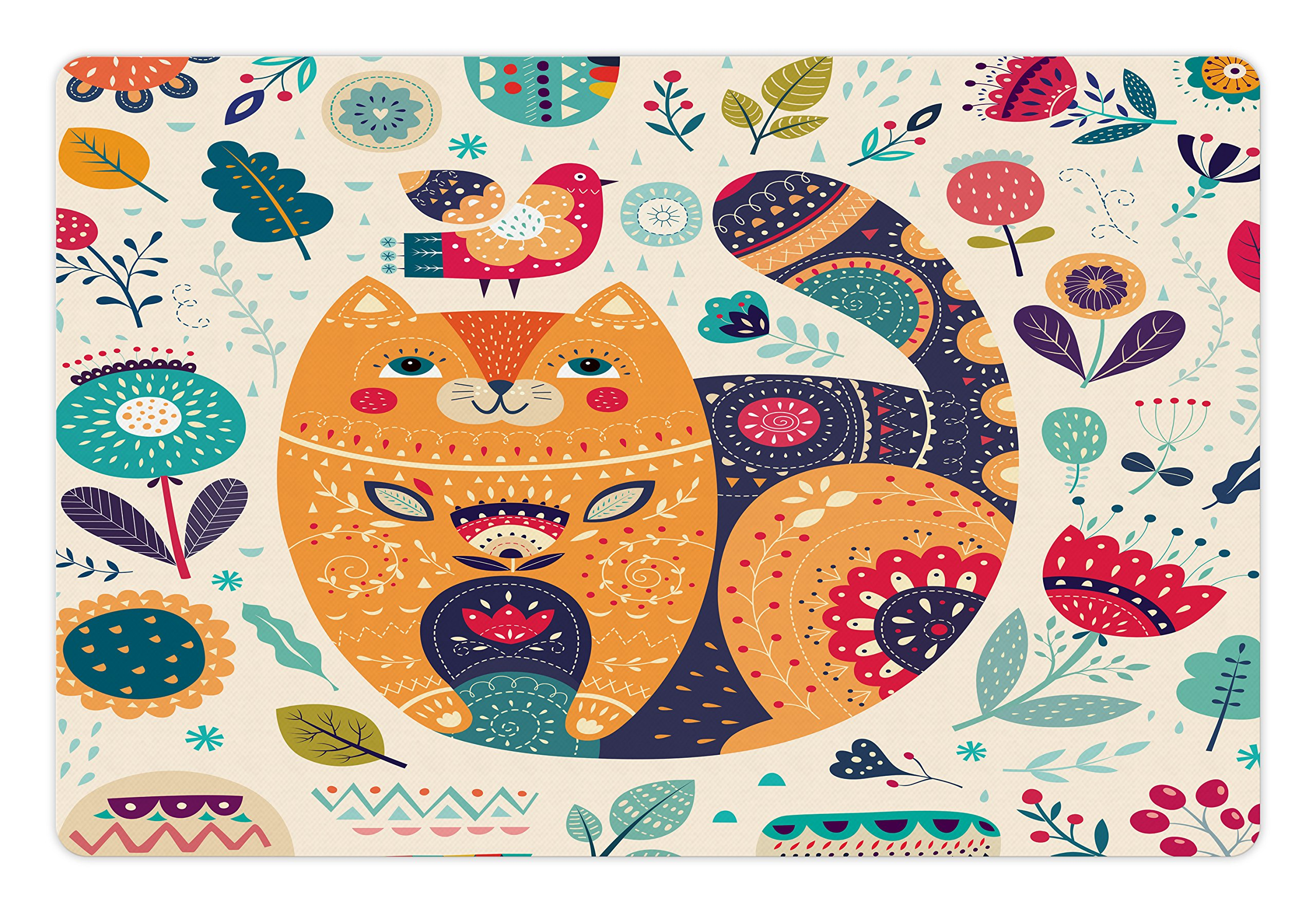 Ambesonne Paisley Pet Mat Food Water, Little Smiling Chubby Cheek Cat Animal Various Oriental Leaf Flower Artwork, Rectangle Non-Slip Rubber Mat Dogs Cats, Multicolor